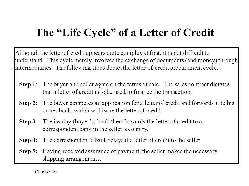 The \u201cLife Cycle\u201d of a Letter of Credit - ppt video online download