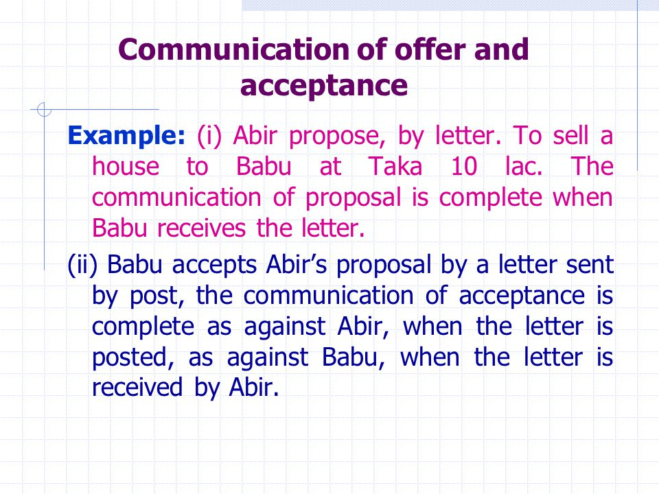 Communication of offer and acceptance - ppt video online download