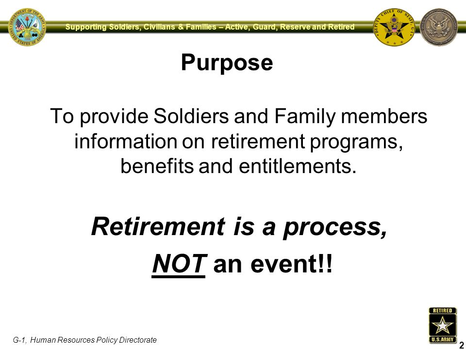 DEPARTMENT OF THE ARMY PRE-RETIREMENT BRIEFING - ppt download - retirement programs