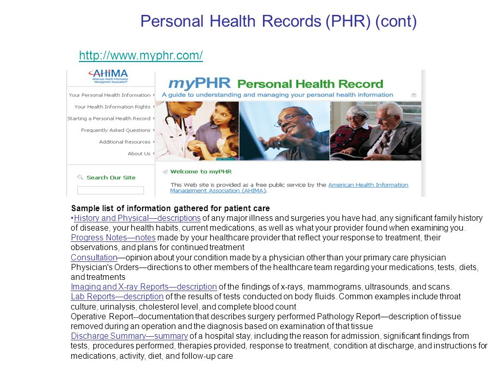 Electronic Health Records (EHR) - ppt video online download - sample health record
