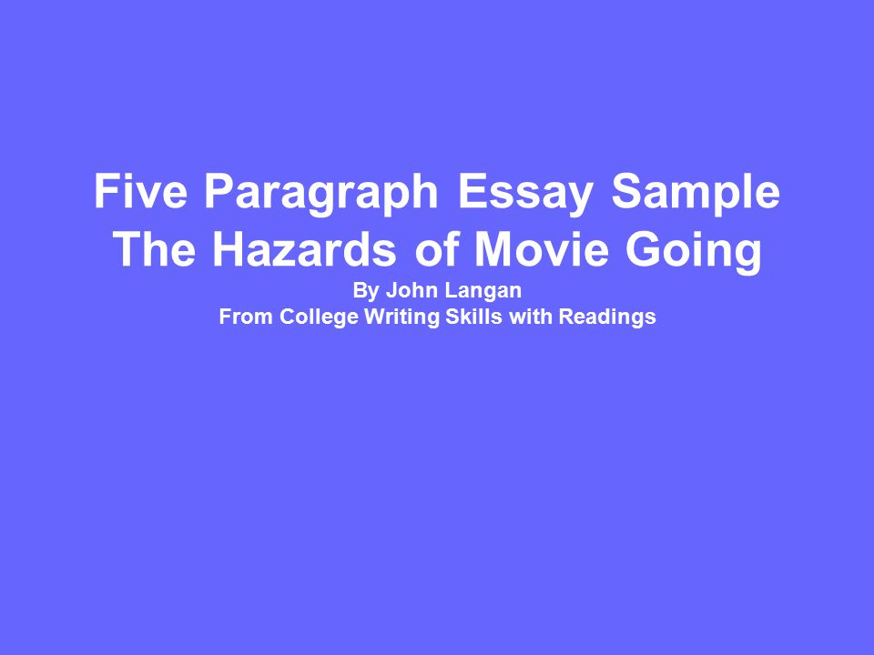 Five Paragraph Essay Sample The Hazards of Movie Going By John