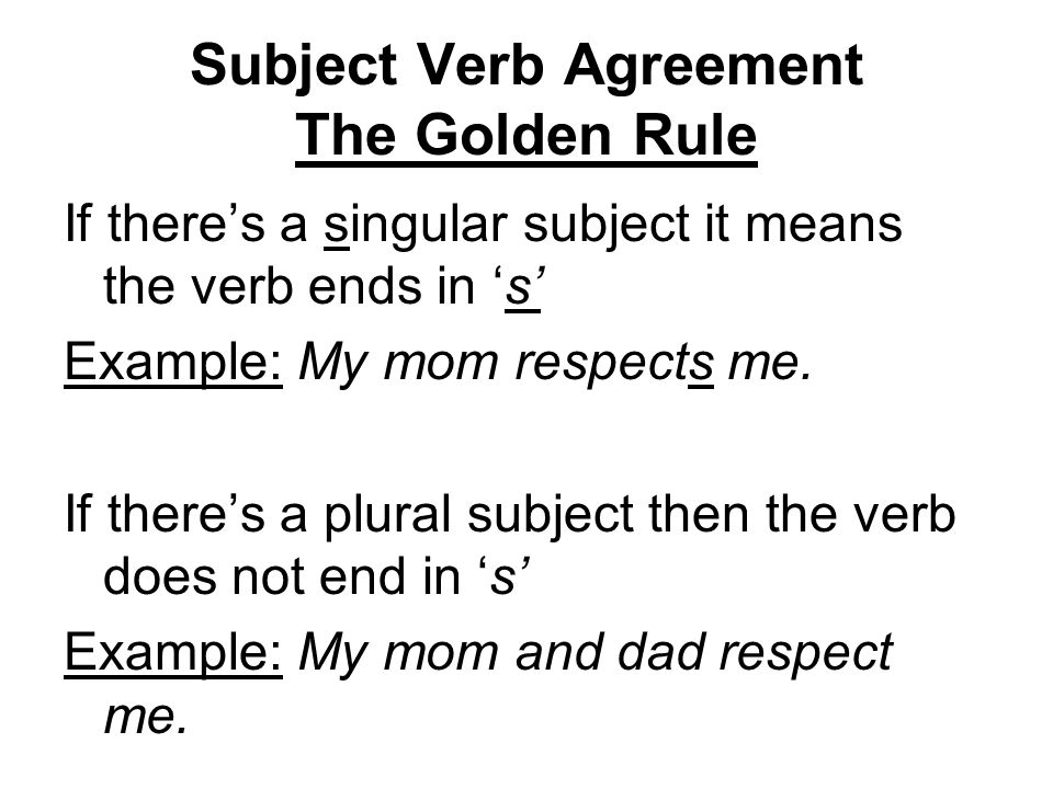 Subject Verb Agreement The Golden Rule - ppt video online download