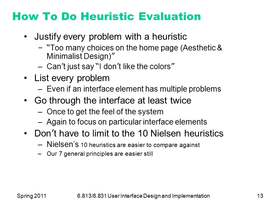 Lecture 23 Heuristic Evaluation - ppt download
