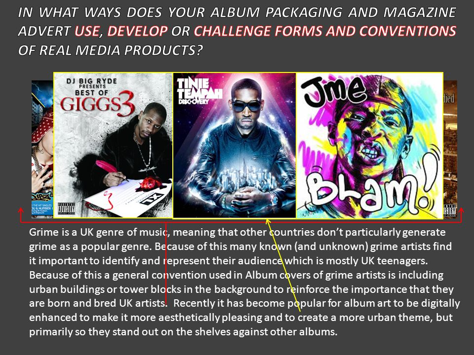 IN WHAT WAYS DOES YOUR ALBUM PACKAGING AND MAGAZINE ADVERT USE
