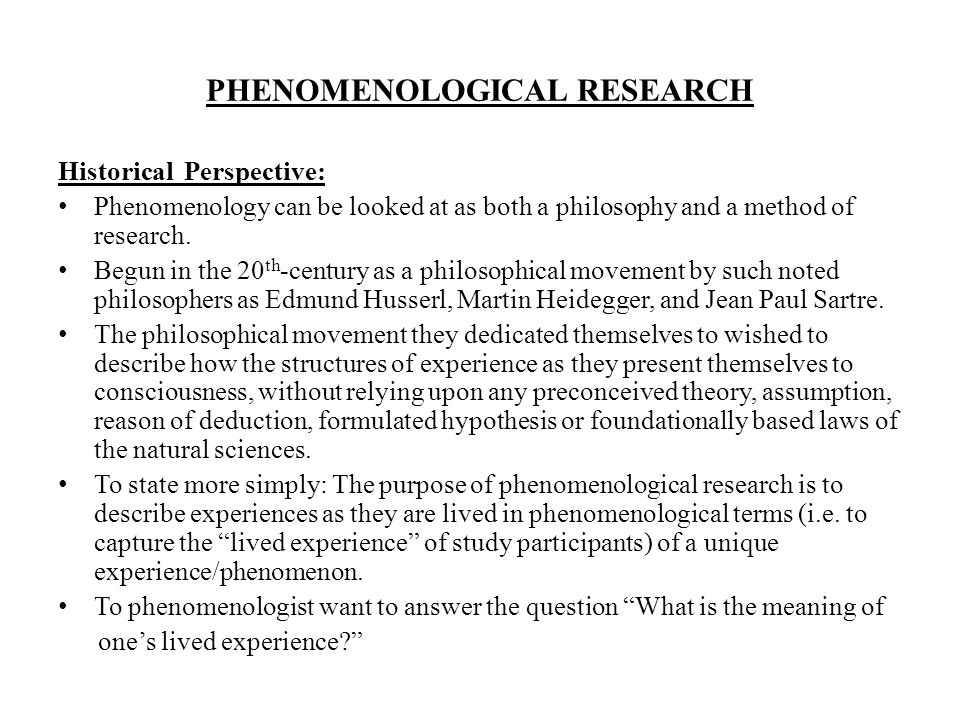 PHENOMENOLOGY A METHOD OF QUALITATIVE RESEARCH - ppt video online