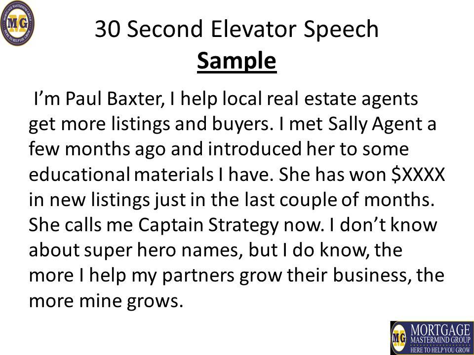 30 Second Elevator Speech - ppt video online download