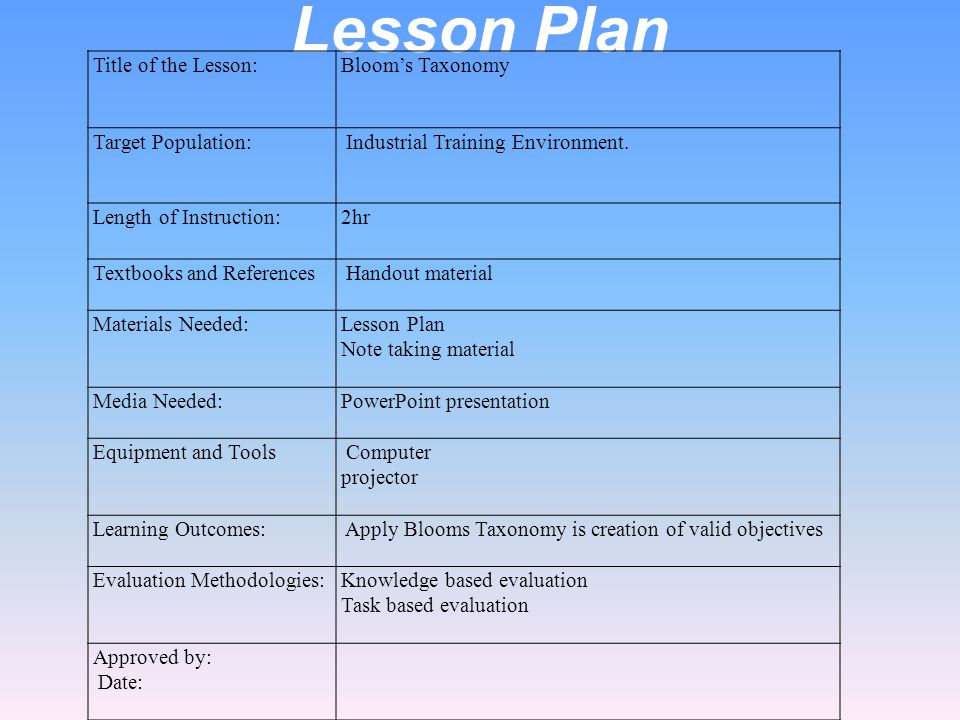 Lesson plan base on blooms taxonomy Homework Academic Writing Service