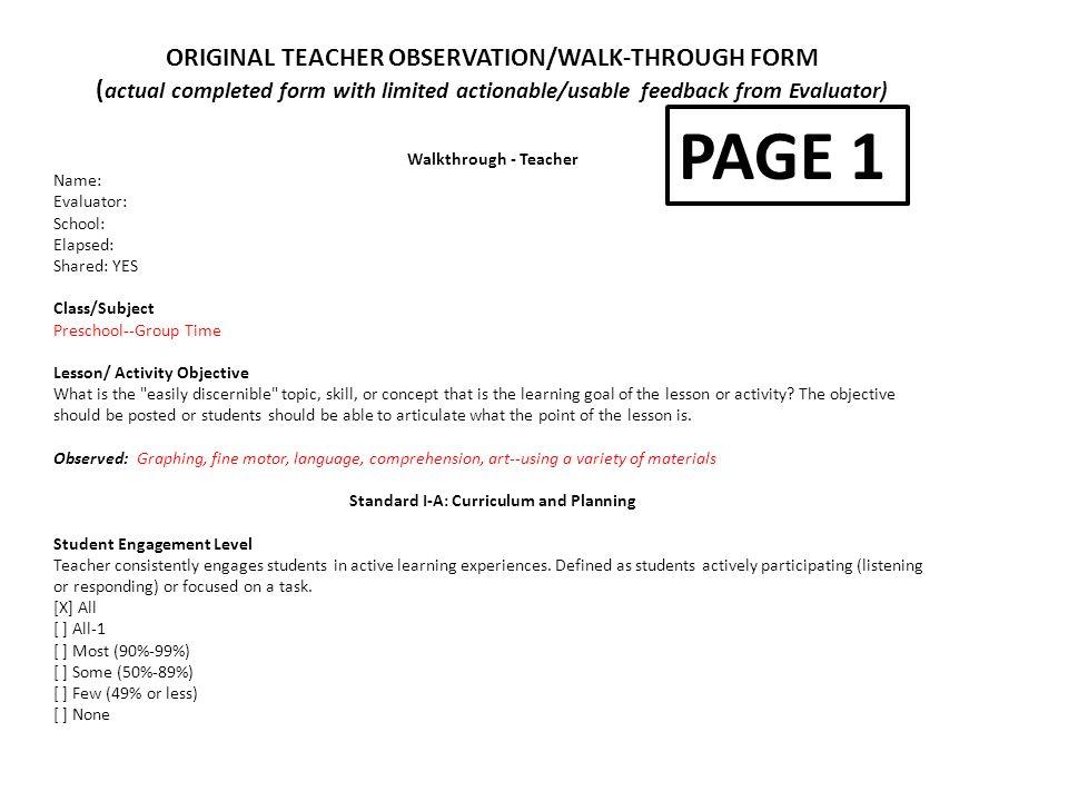 PAGE 1 ORIGINAL TEACHER OBSERVATION/WALK-THROUGH FORM - ppt video - observation feedback form