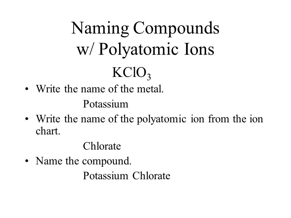Polyatomic Ions Writing Formulas / Naming Compounds - ppt download - poly atomic ions chart
