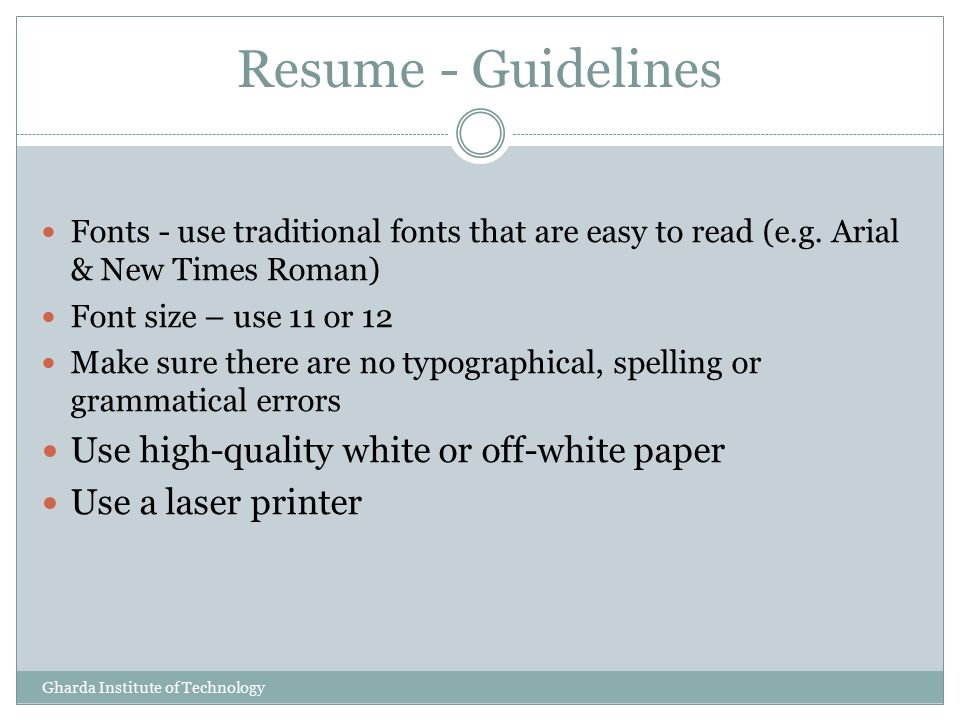Resume Tips Presented by K G VINOD Training  Placement Officer - what font to use for resume