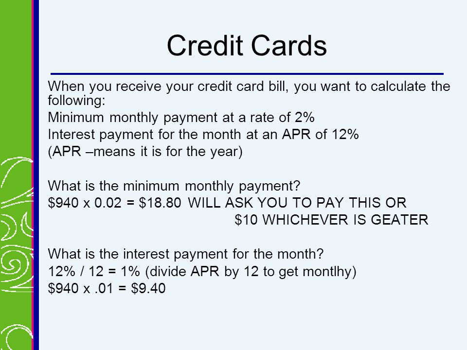 Credit card minimum repayment calculator - oukasinfo