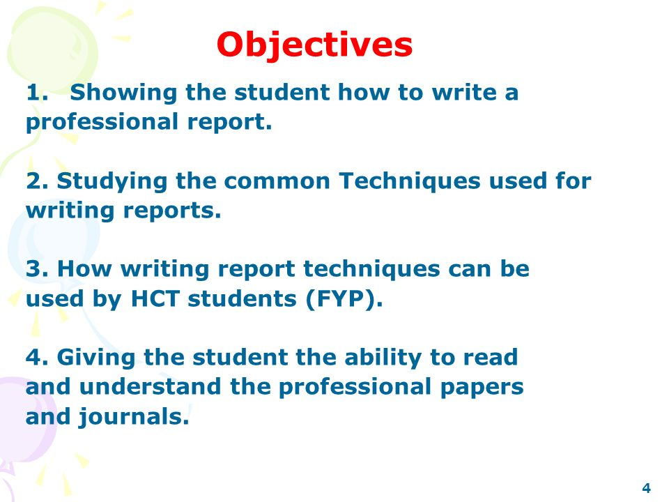 Report writing objectives Homework Help - how to write an objective