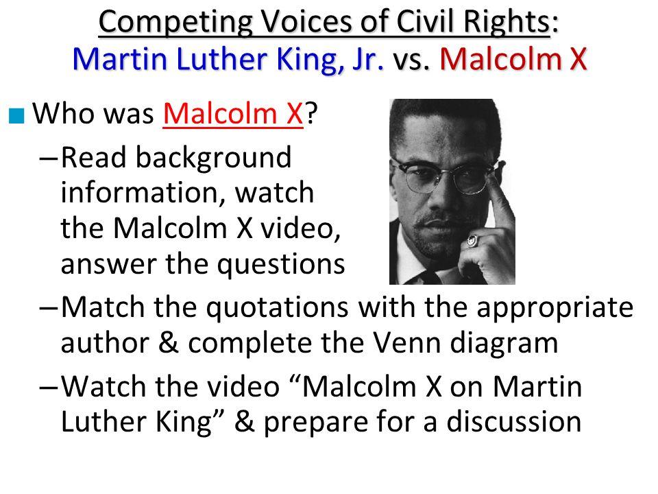 martin luther king jr vs malcolm x venn diagram