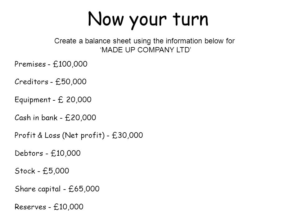 LO To construct a balance sheet with information given - ppt video - create a balance sheet