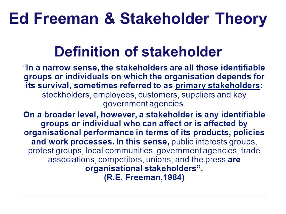 Pedavena 12 Giugno 2010 Shareholder V Stakeholder Theory