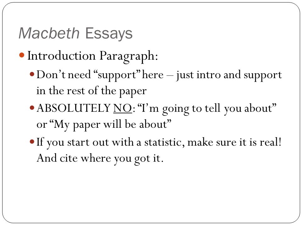 Macbeth Essays Introduction Paragraph - ppt video online download