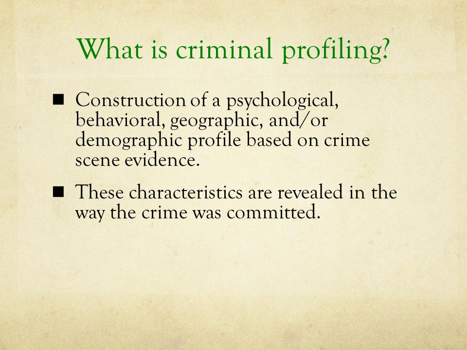 Criminal Profiling - ppt video online download