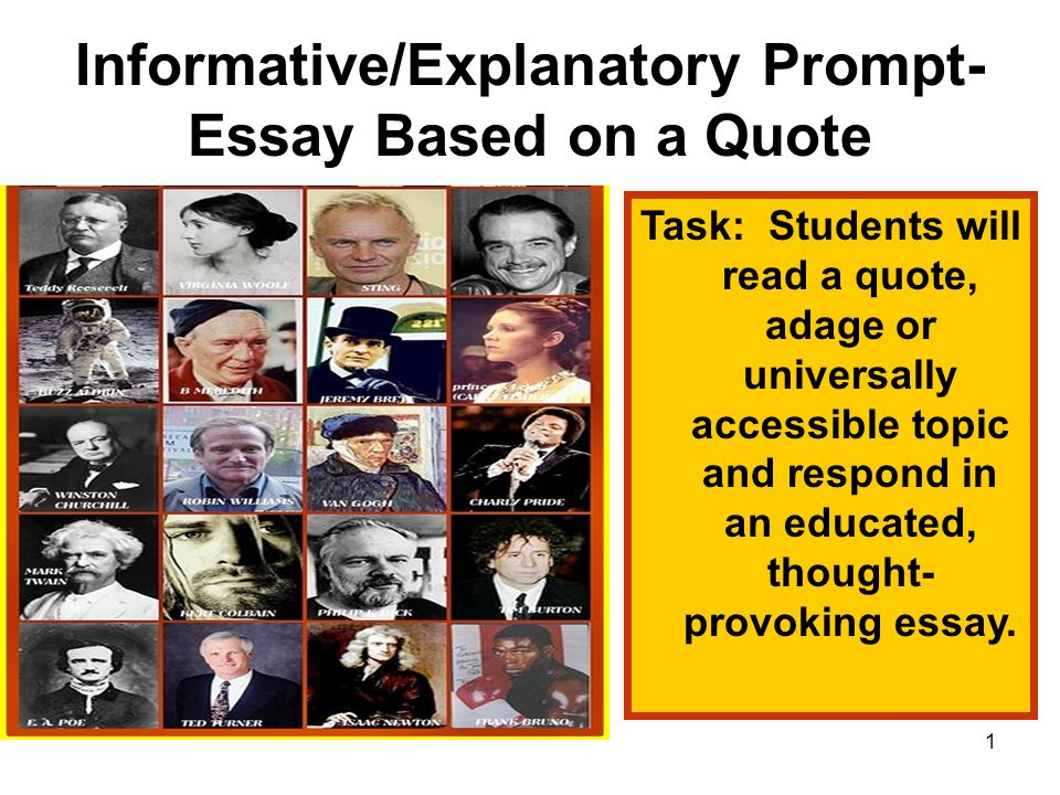 Informative/Explanatory Prompt- Essay Based on a Quote - ppt video - quote on presentation