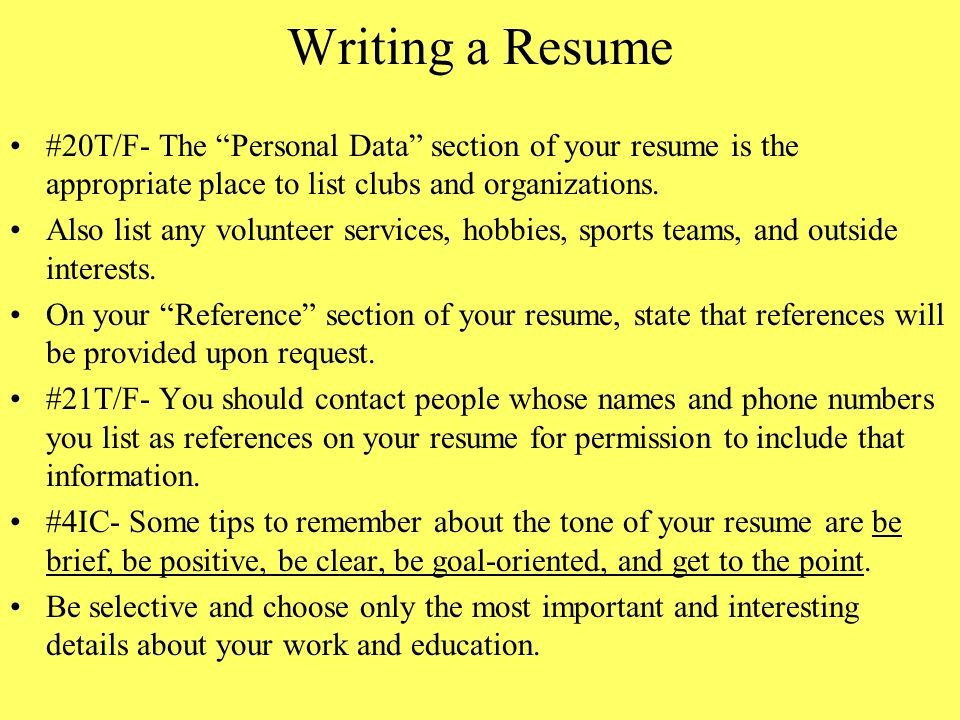 Chapter 8 Interviewing for a Job and Writing a Resume - ppt download - the resume place