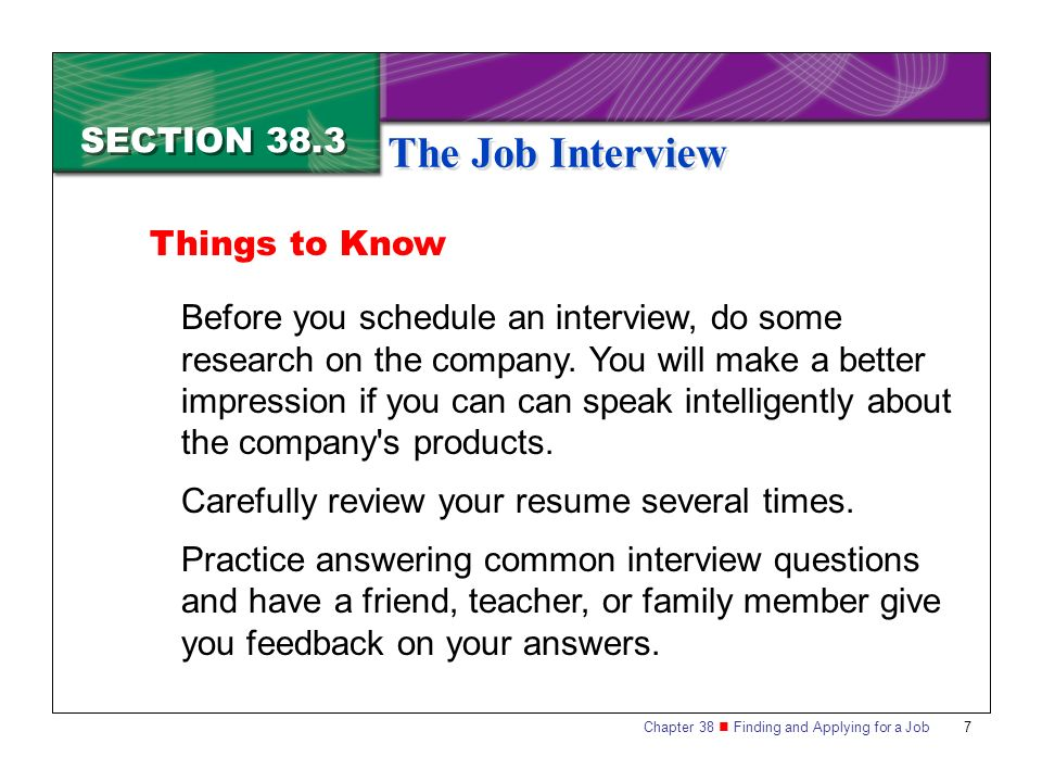 Section 383 The Job Interview - ppt download