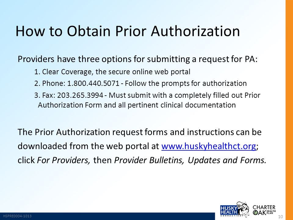 HUSKY Health Program and Charter Oak Health Plan Prior Authorization - fax authorization form
