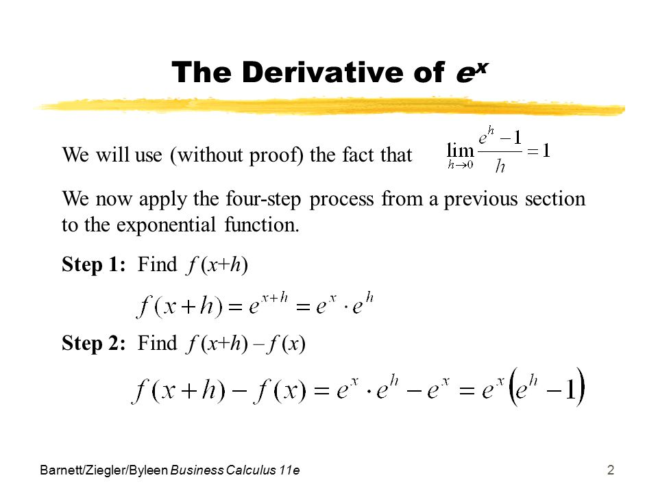 Objectives for Section 112 Derivatives of Exp/Log Functions - ppt