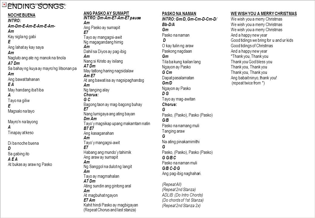 Guitar Chords For Filipino Christmas Songs Images