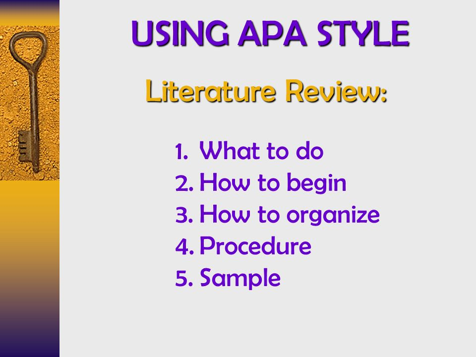 USING APA STYLE Literature Review What to do How to begin - ppt