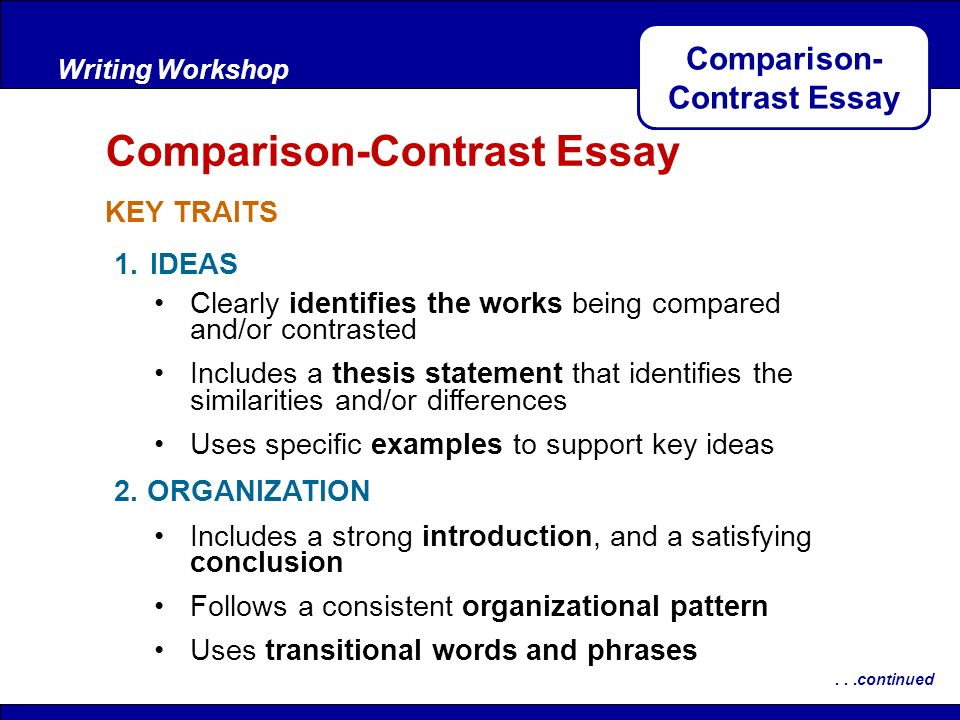 Thesis Statements For Compare And Contrast Essays - Compare