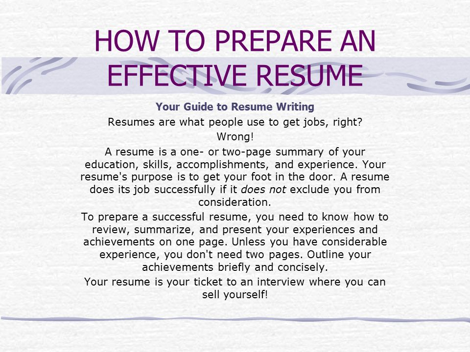 A GUIDE TO RESUME WRITING - ppt video online download