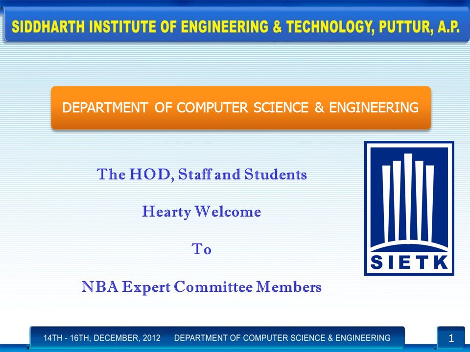The HOD, Staff and Students NBA Expert Committee Members - ppt download