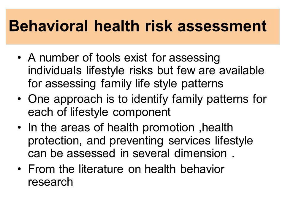 Family health risk - ppt download