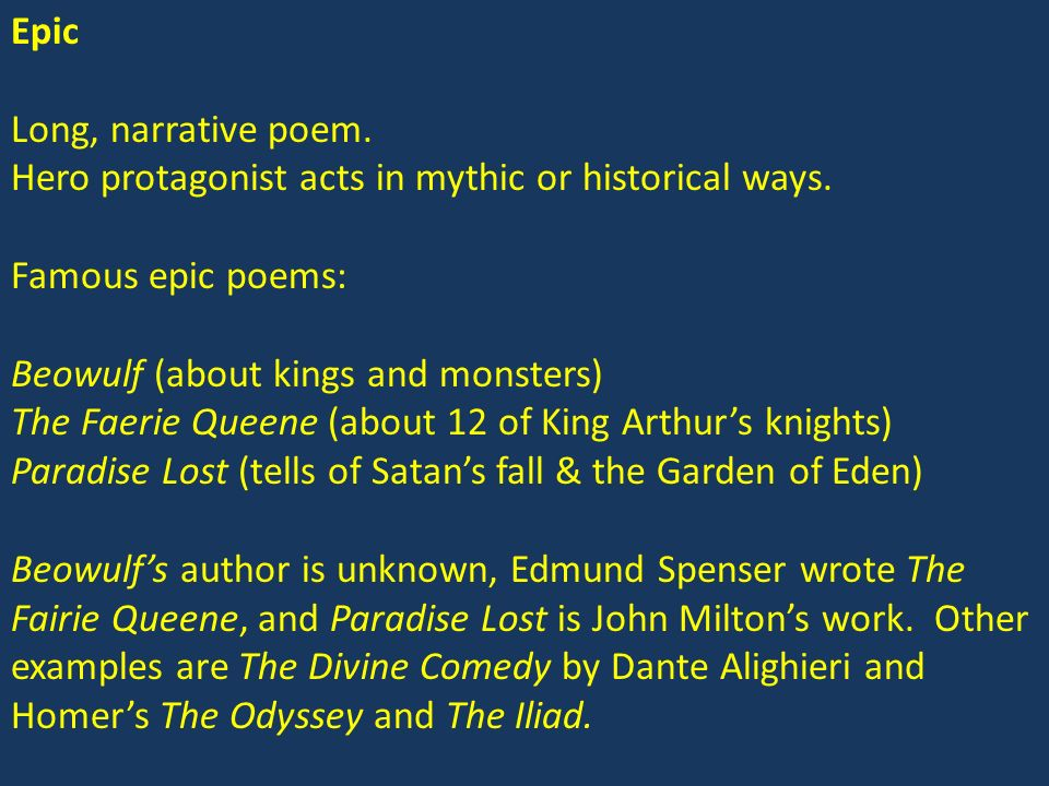 Poetry Forms  Types Epic Poems The Epistle The Canto - ppt video