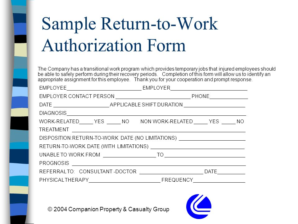 Return To Work  Transitional Jobs - ppt download - Work Authorization Form