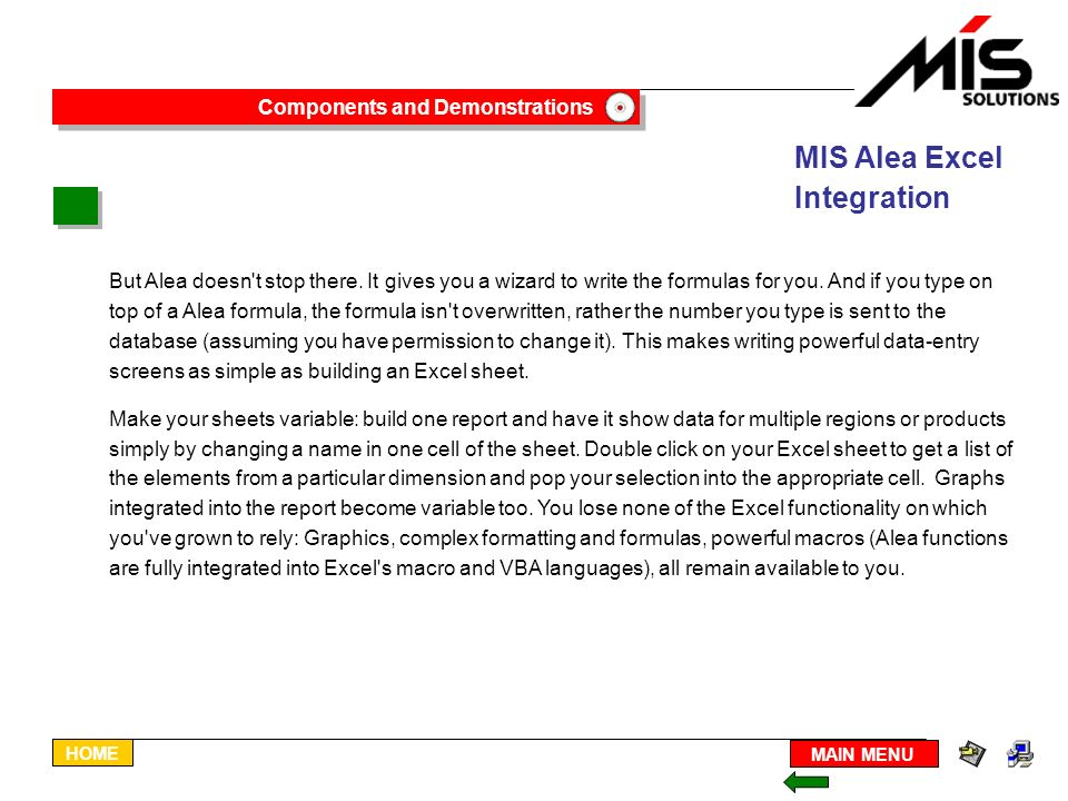 The Alea Browser for ExcelÒ Building Reports - ppt download