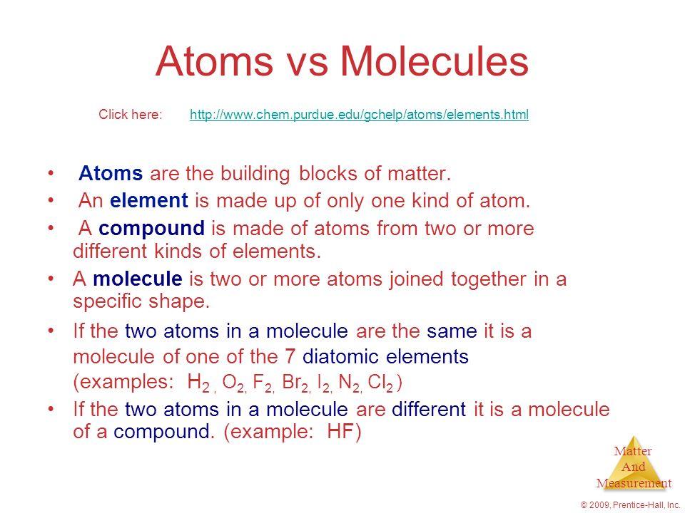 Chapter 1 Introduction Matter and Measurement - ppt video online - molecule vs atom