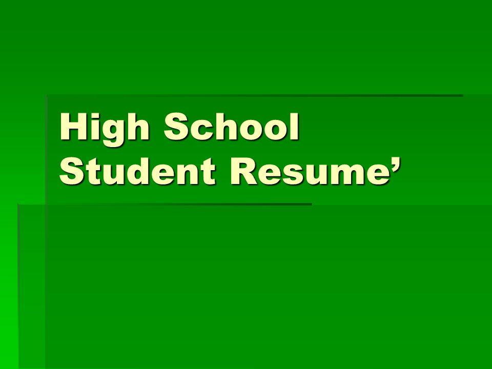 High School Student Resume\u0027 - ppt video online download