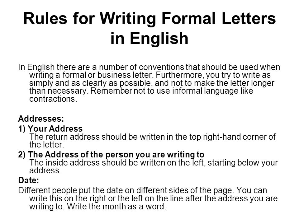 Writing a formal letter - ppt video online download