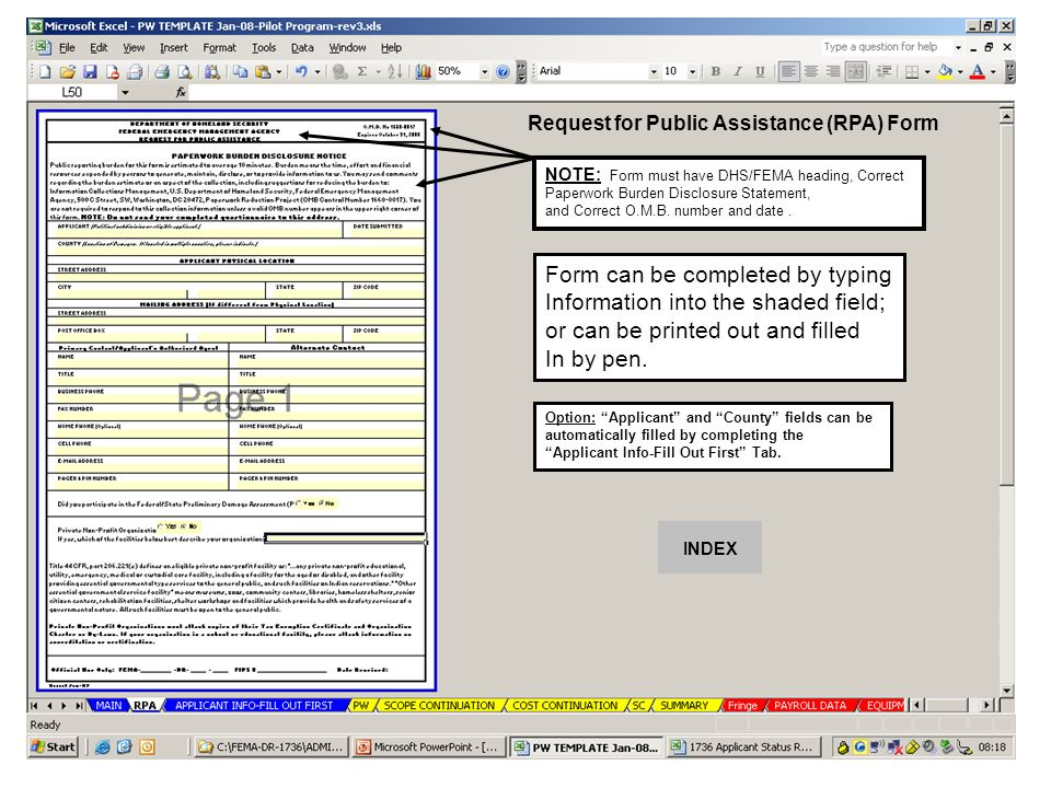 FEMA Instructions for using the PW TEMPLATE Excel Spreadsheet - fema application form