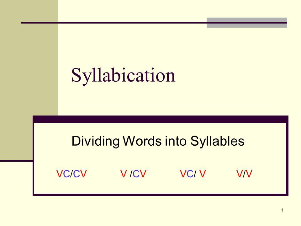 Dividing Words into Syllables VC/CV V /CV VC/ V V/V - ppt video