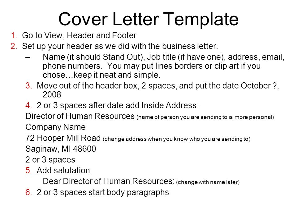 Warm Up 10/8/08 Open all the example cover letters in the public L