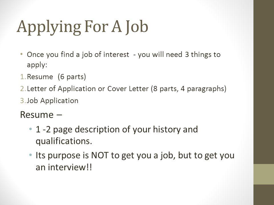 Applying For A Job Resume \u2013 - ppt download