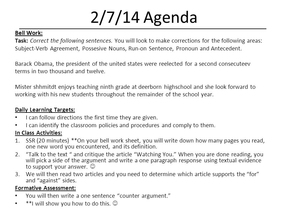 Language Arts 2 Daily Agenda - ppt download