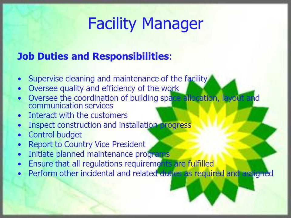 Human Resource Management Plan - ppt download - facility manager job description