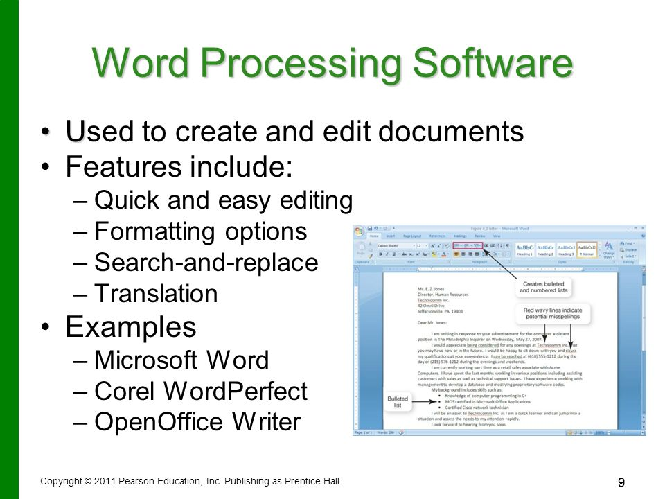 Summary -\u003e What Is Word Processing Software Definition Types
