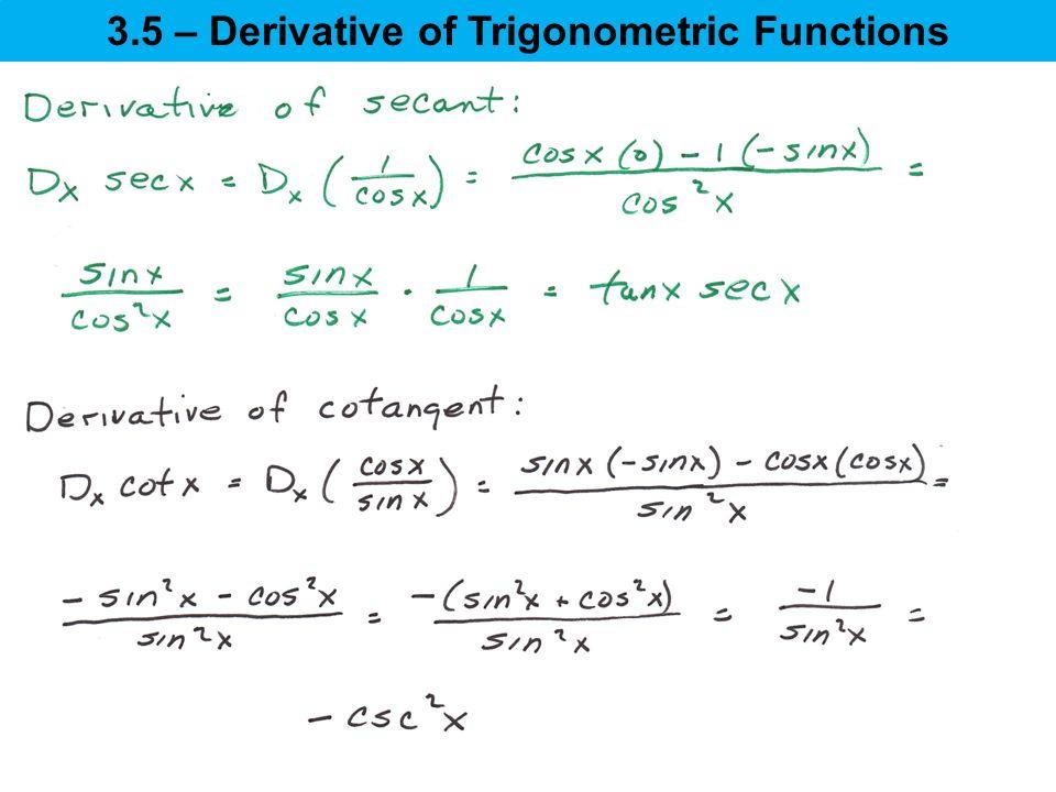 35 \u2013 Derivative of Trigonometric Functions - ppt download