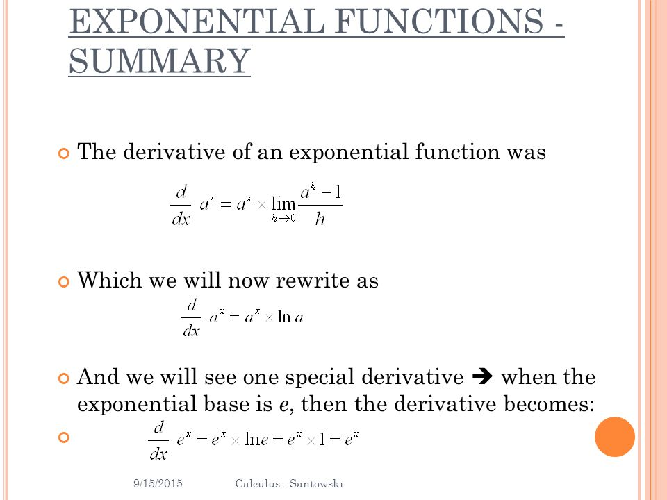 B16 \u2013 DERIVATIVES OF EXPONENTIAL FUNCTIONS - ppt download