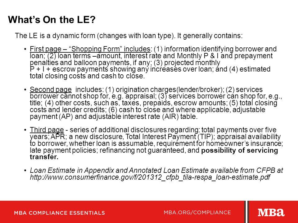 Mortgage Bankers Association - ppt video online download - Loan Estimate Form