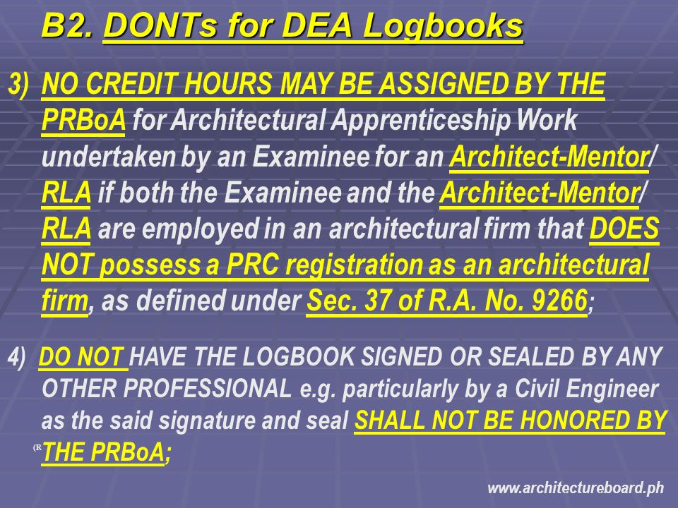 Diversified Experience in Architecture (DEA) Logbook Filing - ppt