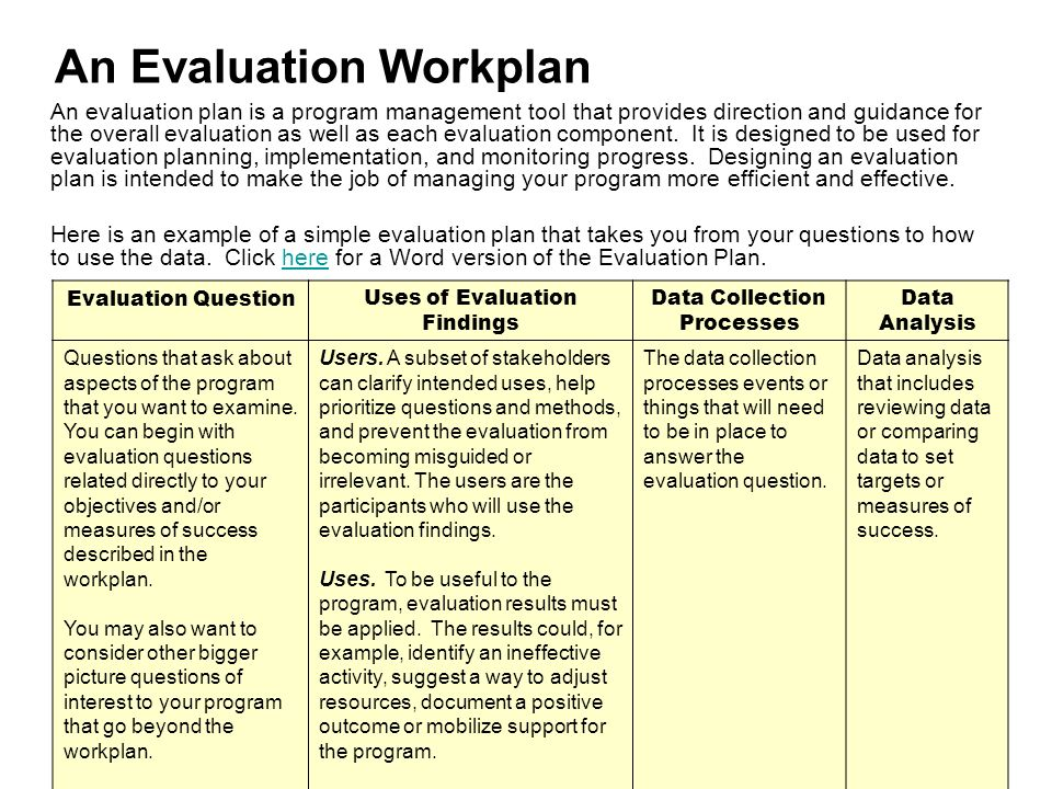 An evaluation of planning and design Custom paper Help - Sample Evaluation Plan